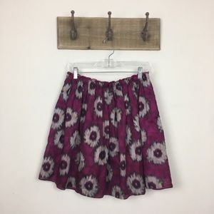 Anthropologie Odille Purple Floral Skirt Sz Small